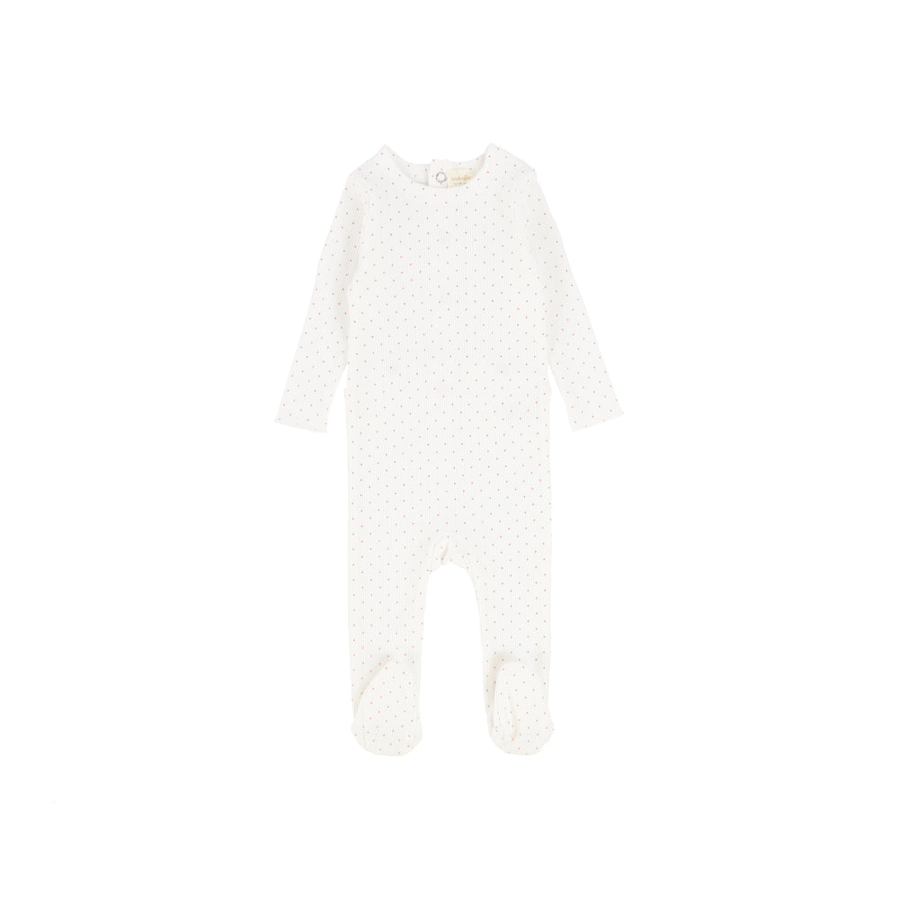 Lil Legs Dot Footie - White/Pink