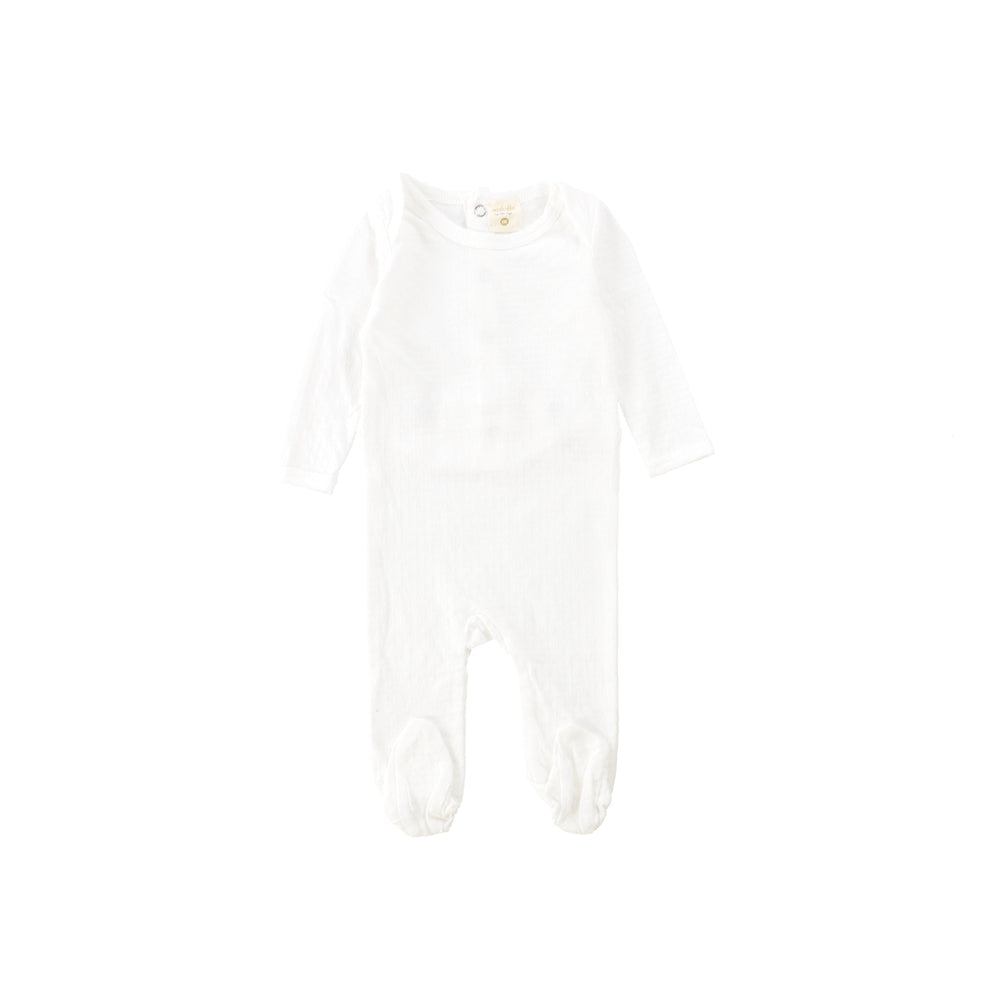 Lil Legs Pointelle Footie with Bonnet - White