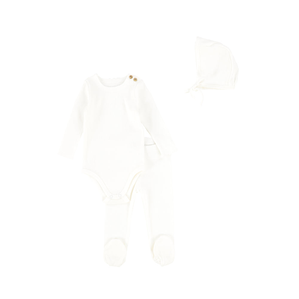 Lil Legs Rib Baby Set with Bonnet - White