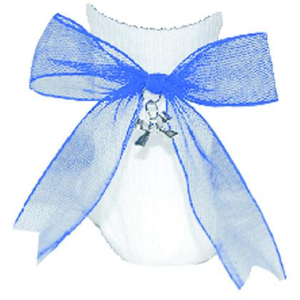 Net Charm Bow Anklet Socks - Blue
