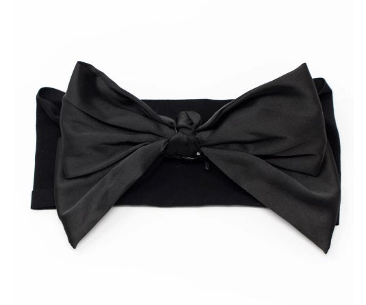 Bandeau Silk Bow Baby Headband - Black