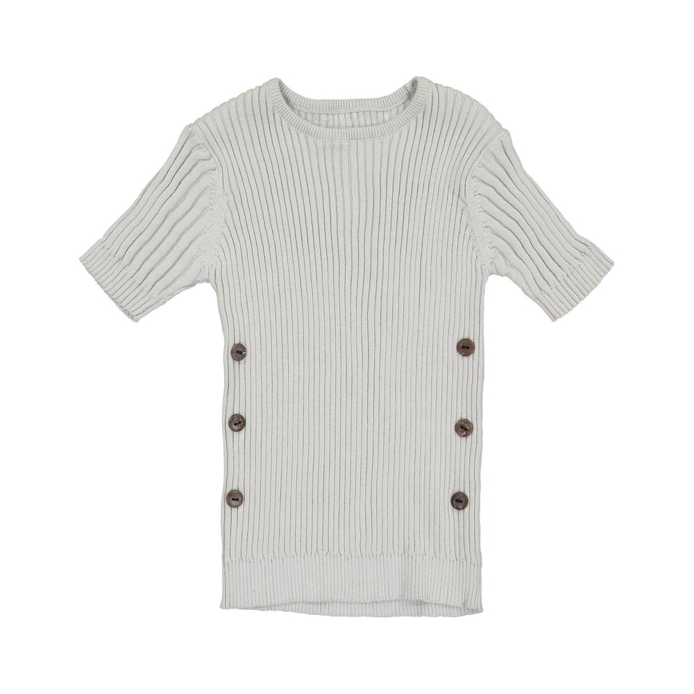 Belati Ribbed Knit with Side Buttons - Light Grey