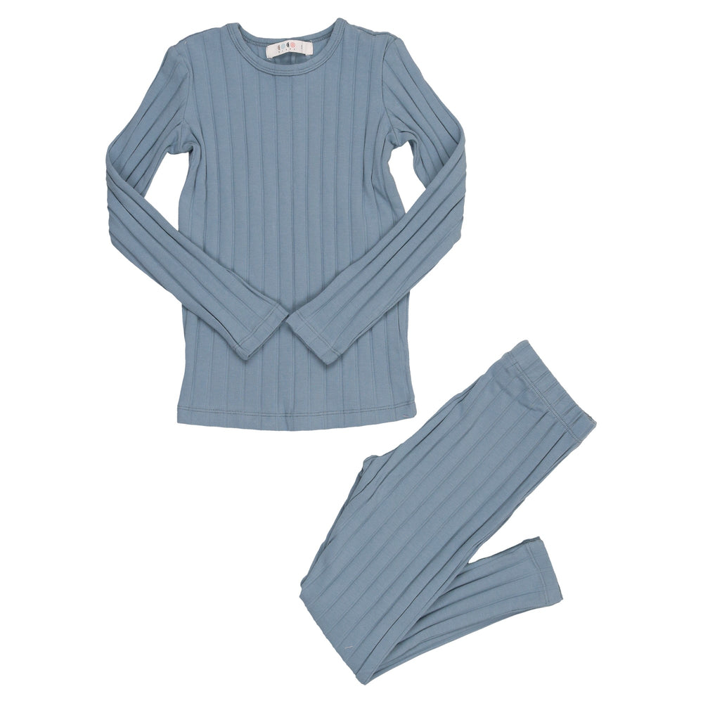 Coco Blanc Wide Ribbed Pajamas - Blue