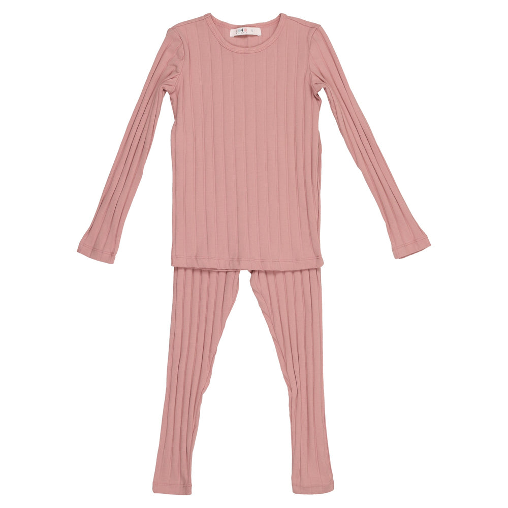 Coco Blanc Wide Ribbed Pajamas - Mauve