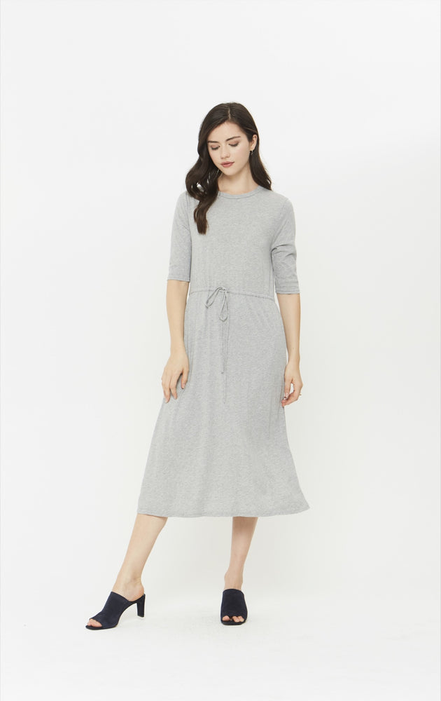 Drawstring Dress - Heather Grey