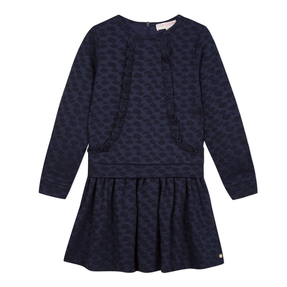 Lili Gaufrette Navy Ruffle Dress
