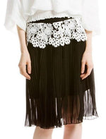 Eyelet Pleated Skirt