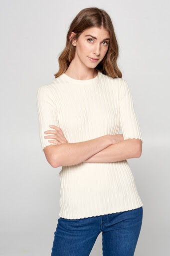 Ribbed Top - Ivory