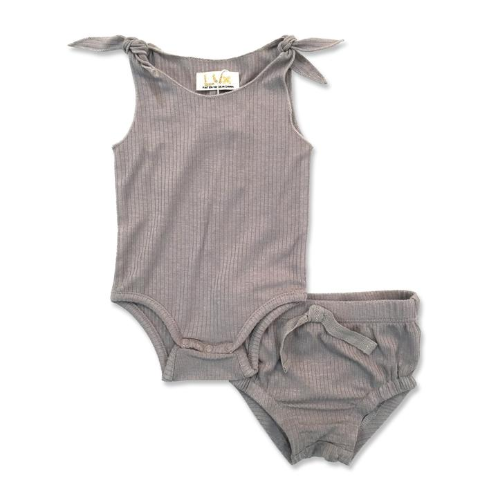 Lux Ribbed Baby Tank Set - Grey