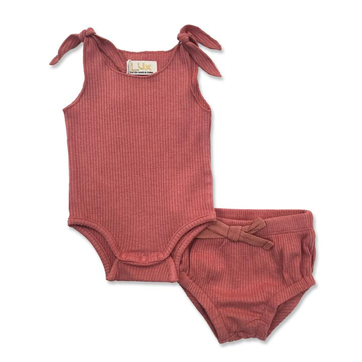 Lux Ribbed Baby Tank Set - Dark Rose