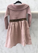 Violeta e Federico Pink and Leopard Knit Dress