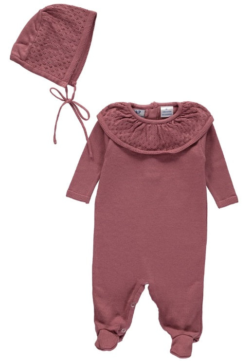 P & P Knit Baby Outfit with Bonnet