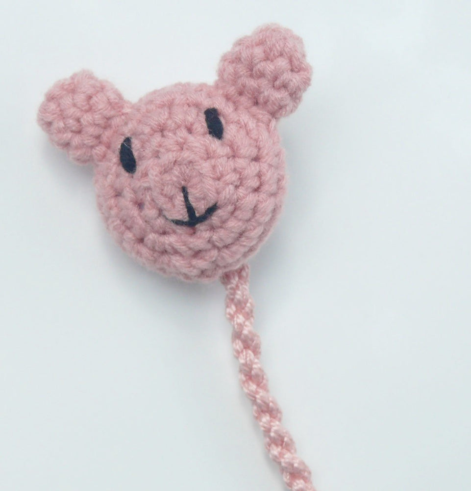 Teddy Bear Pacifier Clip - Rose