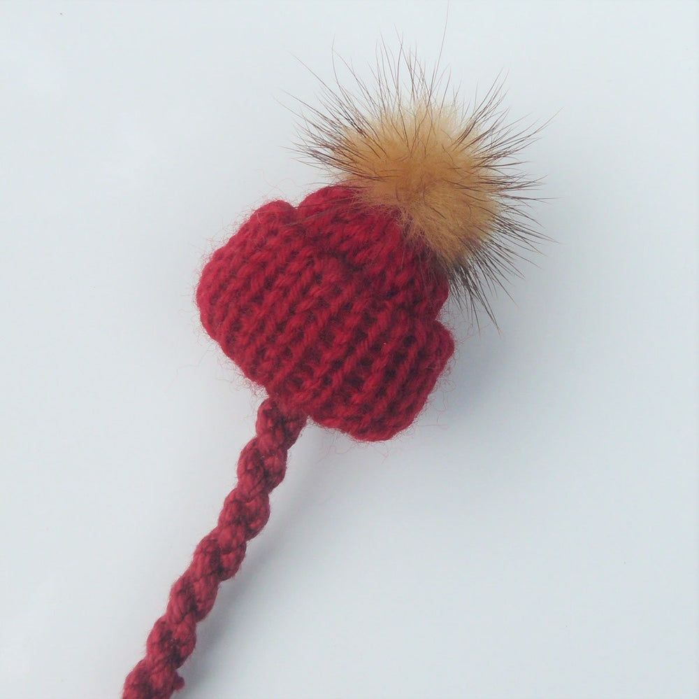 Pompom Hat Pacifier Clip - Red