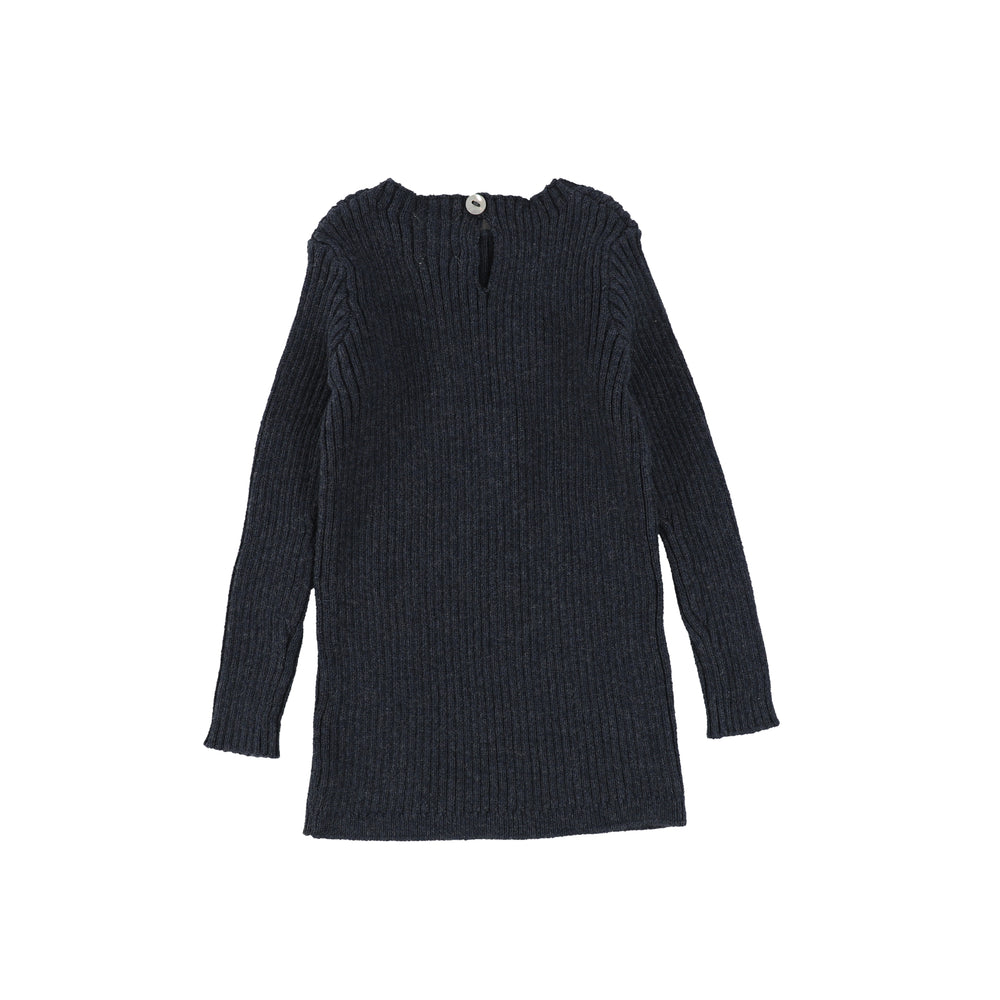 Analogie by Lil Legs Long Sleeve Knit Sweater - Indigo