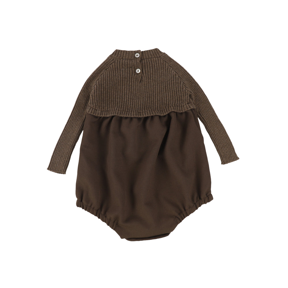 Analogie by Lil Legs Knit Bubble Romper - Dark Walnut