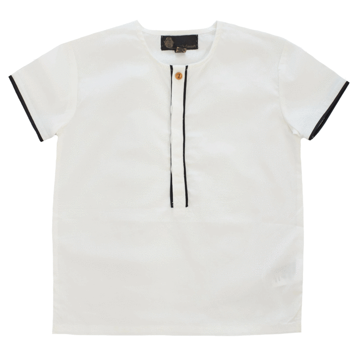 Little Cocoon Piped Placket Shirt - Black