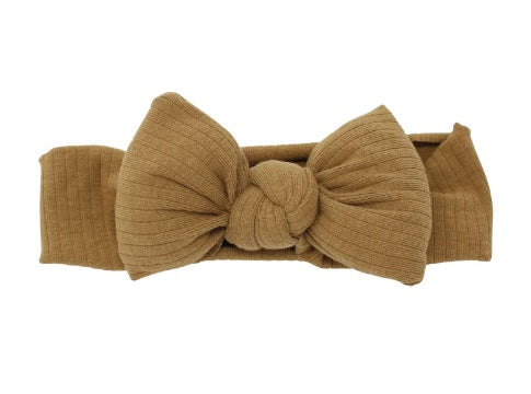 Bandeau Ribbed Puffer Bow Baby Headband - Luggage