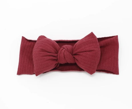 Bandeau Ribbed Puffer Bow Baby Headband - Wine
