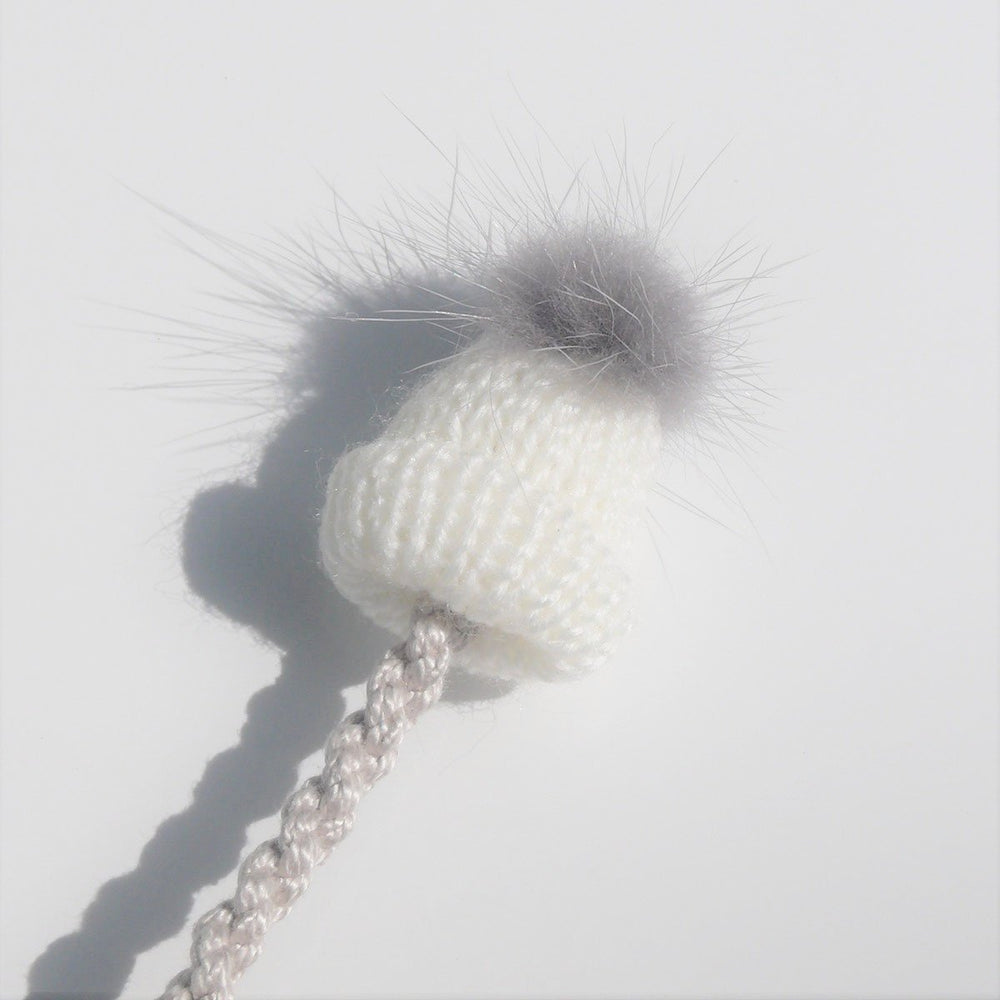 Pompom Hat Pacifier Clip - White
