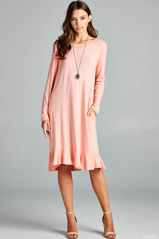 Ruffle Dress - Blush