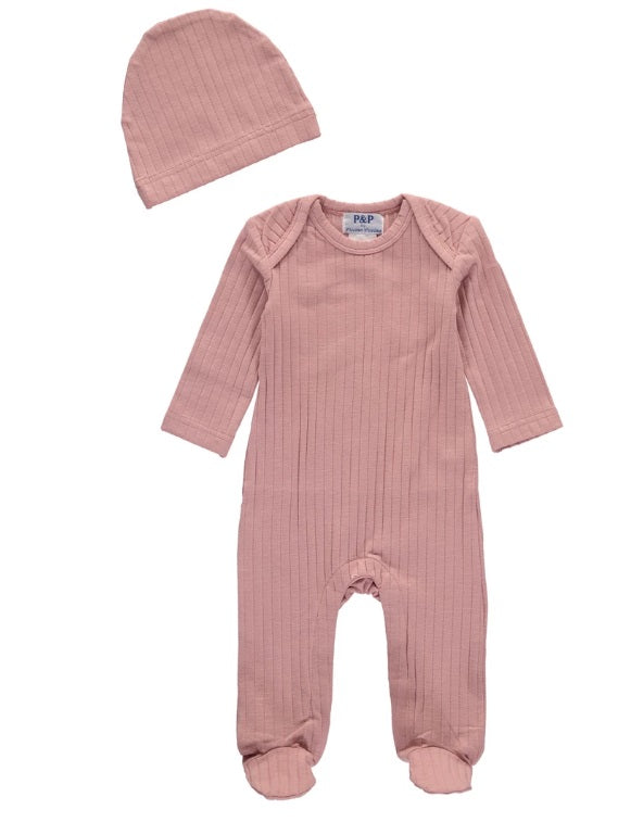 P & P Ribbed Footsie with Hat - Pink