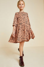Ruffle Dotted Swing Dress - Rust