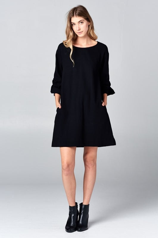 Wrap Arm Dress - Black