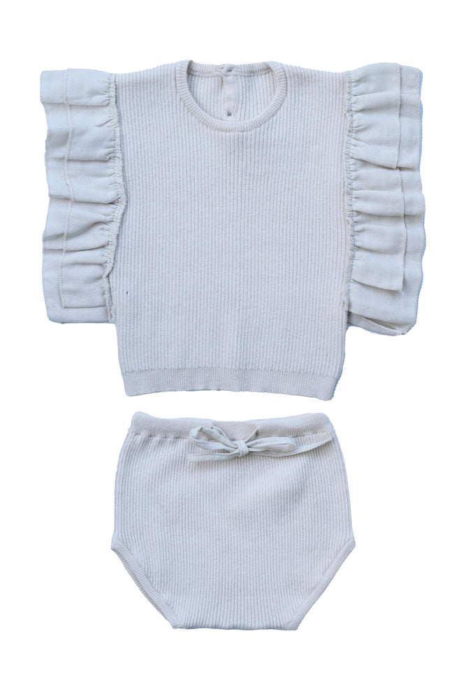 Belati Knit Set with Frill Shoulders - Vanilla