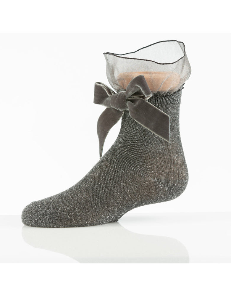 Zubii Tulle and Bow Ankle Sock - Charcoal
