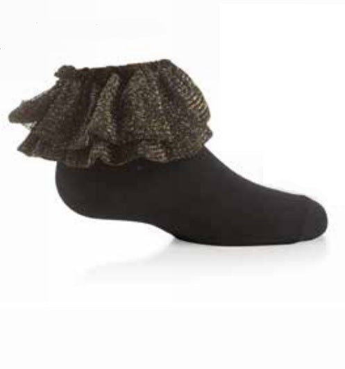 Zubii Metallic Cotton Ankle Sock - Black/Gold