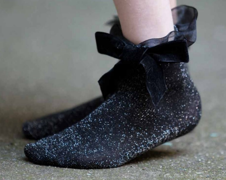 Zubii Tulle and Bow Ankle Sock - Black