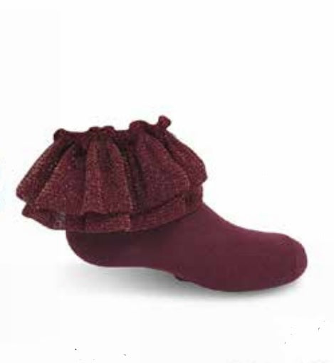 Zubii Metallic Cotton Ankle Sock - Burgundy