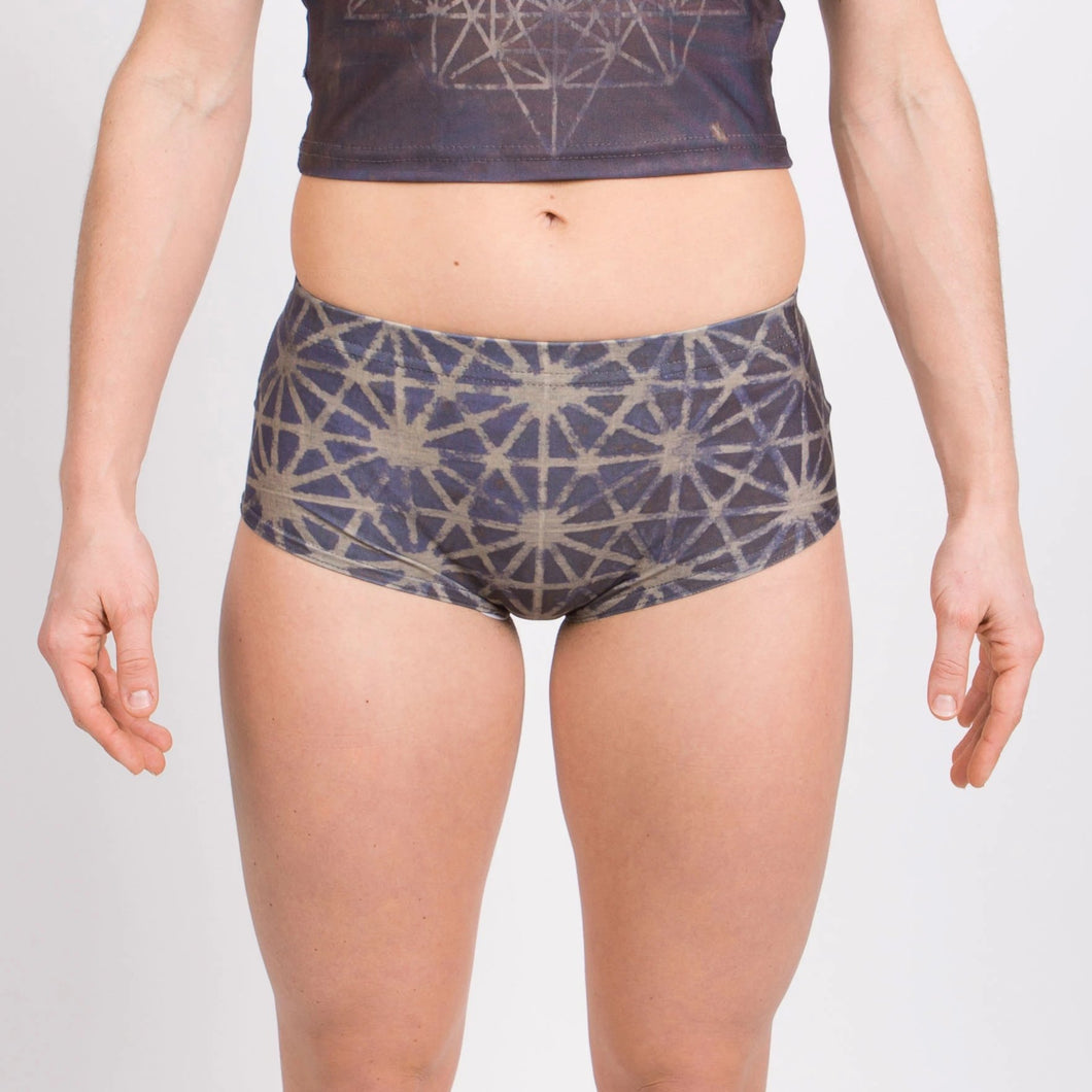 64 Tetrahedron Mini Shorts - Slate Blue & Gold