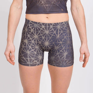 64 Tetrahedron Yoga Shorts - Slate Blue & Gold
