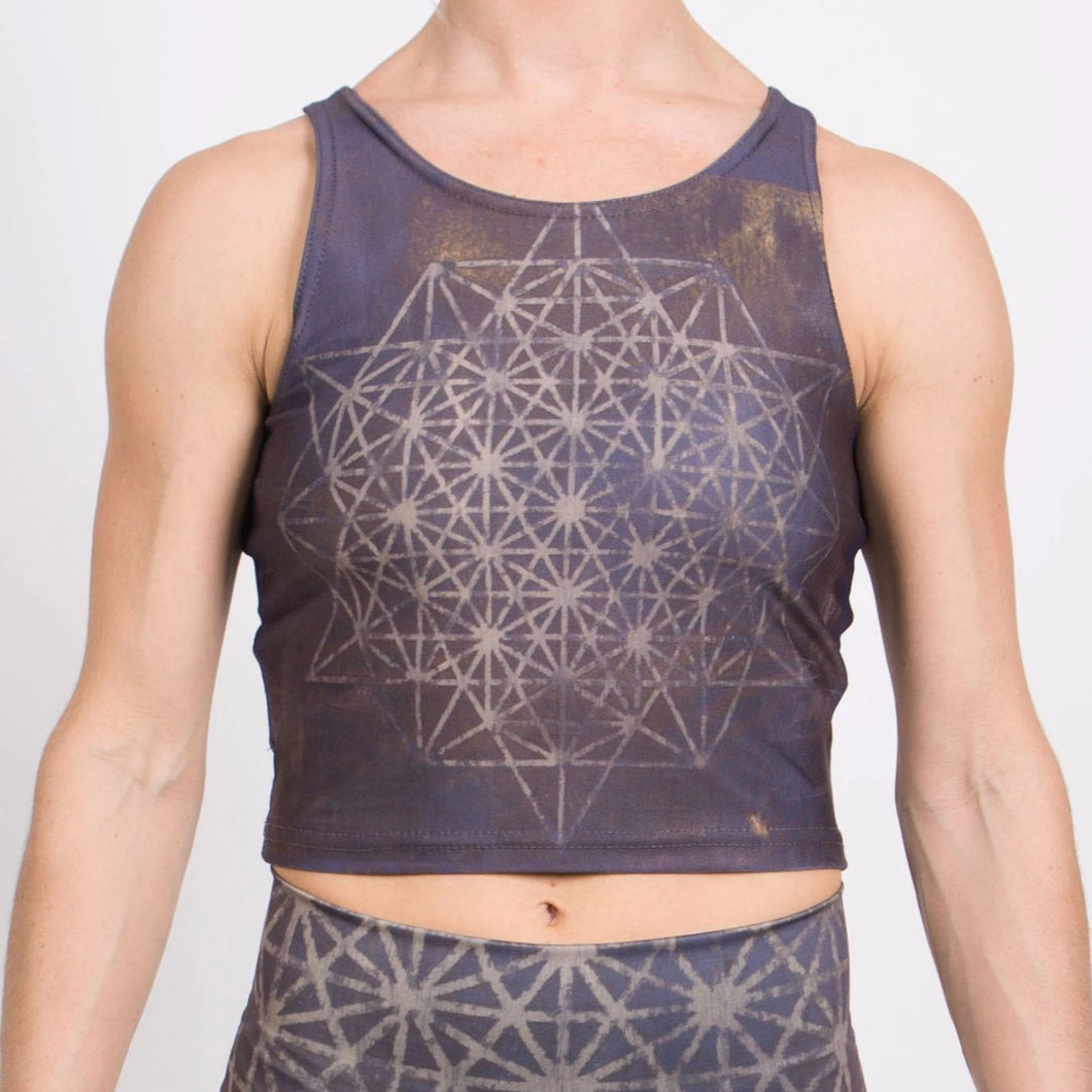 64 Tetrahedron Yoga Crop Top - Slate Blue & Gold