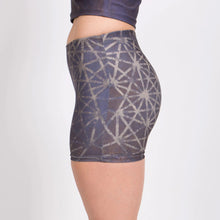 Load image into Gallery viewer, 64 Tetrahedron Yoga Shorts - Slate Blue & Gold