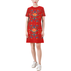 Red Folklore Short-Sleeve Dress - Hapyrel