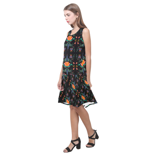 Folklore Sleeveless Splicing Shift Dress, Black With Floral Print(Model D17)