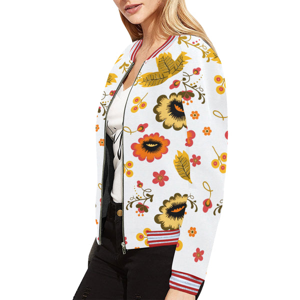 Folklore Women's Horizontal Stripes Jacket, White With Floral Print (Model H21)