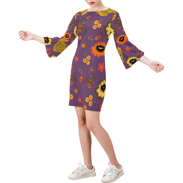 Folklore Bell Sleeve Dress Purple (Model D52) - Hapyrel