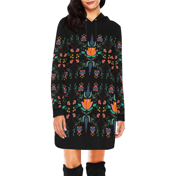 Folklore Women's Hoodie Mini Dress, Black With Floral Print (Model H27) - Hapyrel