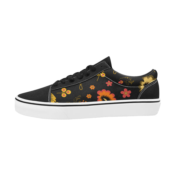 Folklore Women's Lace-Up Canvas Shoes Black (Model E001-2) - Hapyrel