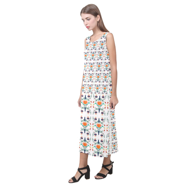 Folklore Sleeveless White Open Fork Long Dress(Model D08) - Hapyrel