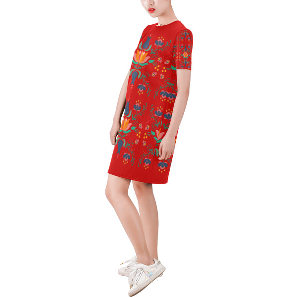 Folklore Short-Sleeve Round Neck A-Line Dress