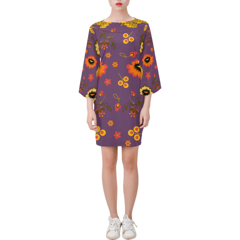 Folklore Bell Sleeve Dress Purple - Hapyrel