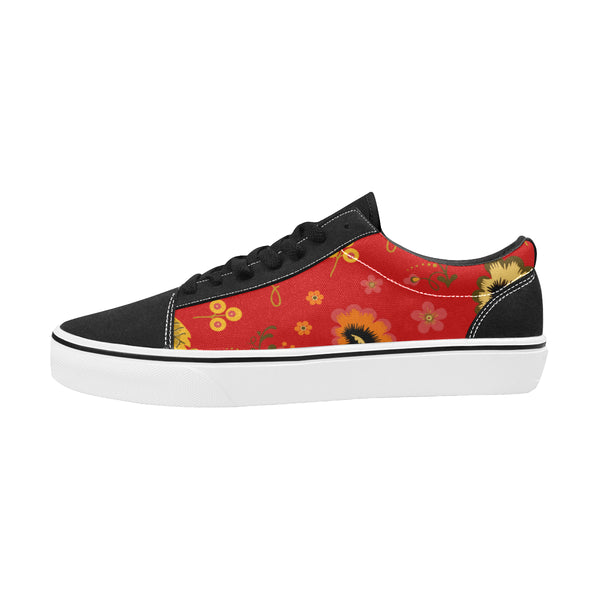 Folklore Women's Lace-Up Canvas Shoes Red (Model E001-2) - Hapyrel
