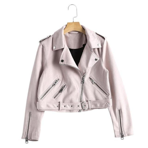 Slim Suede  Biker Jacket Slim White PU Coat