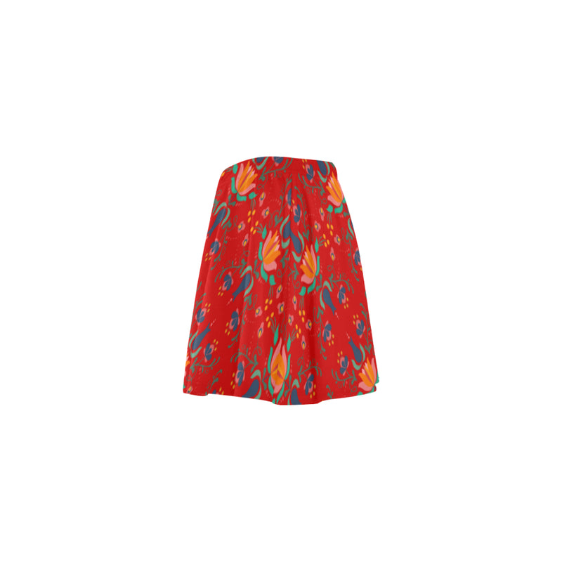 Folklore Red Mini Skater Skirt With Floral Print (Model D36) - Hapyrel
