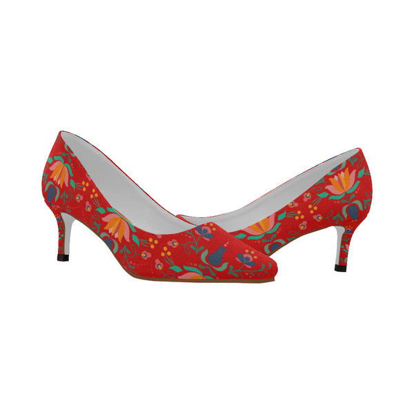 Folklore Women's Pointy Toe Low Kitten Heel Pumps Red (Model 053)